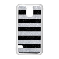 Stripes2 Black Marble & Silver Glitter Samsung Galaxy S5 Case (white) by trendistuff
