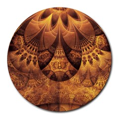Beautiful Gold And Brown Honeycomb Fractal Beehive Round Mousepads by jayaprime