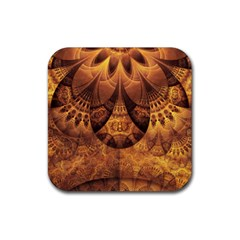 Beautiful Gold And Brown Honeycomb Fractal Beehive Rubber Coaster (square)  by jayaprime