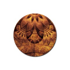 Beautiful Gold And Brown Honeycomb Fractal Beehive Rubber Round Coaster (4 Pack)  by jayaprime
