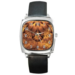 Beautiful Gold And Brown Honeycomb Fractal Beehive Square Metal Watch by jayaprime