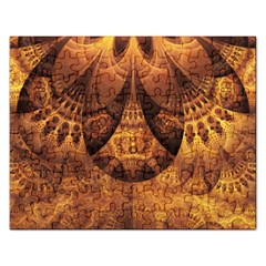 Beautiful Gold And Brown Honeycomb Fractal Beehive Rectangular Jigsaw Puzzl by jayaprime