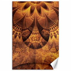 Beautiful Gold And Brown Honeycomb Fractal Beehive Canvas 12  X 18   by jayaprime