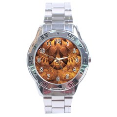 Beautiful Gold And Brown Honeycomb Fractal Beehive Stainless Steel Analogue Watch by jayaprime