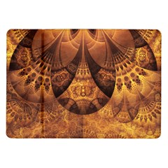 Beautiful Gold And Brown Honeycomb Fractal Beehive Samsung Galaxy Tab 10 1  P7500 Flip Case by jayaprime
