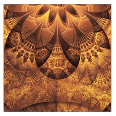 Beautiful Gold And Brown Honeycomb Fractal Beehive Large Satin Scarf (square) by jayaprime