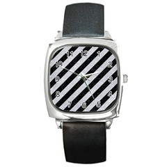 Stripes3 Black Marble & Silver Glitter (r) Square Metal Watch