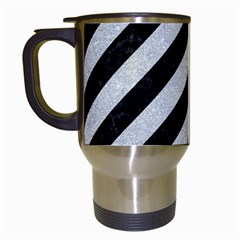 Stripes3 Black Marble & Silver Glitter (r) Travel Mugs (white) by trendistuff