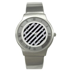 Stripes3 Black Marble & Silver Glitter (r) Stainless Steel Watch by trendistuff