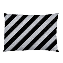Stripes3 Black Marble & Silver Glitter (r) Pillow Case by trendistuff