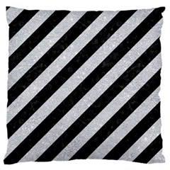 Stripes3 Black Marble & Silver Glitter (r) Standard Flano Cushion Case (two Sides) by trendistuff