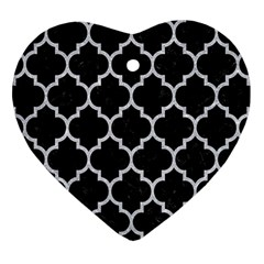 Tile1 Black Marble & Silver Glitter (r) Heart Ornament (two Sides) by trendistuff