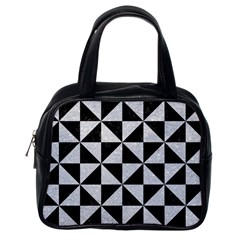 Triangle1 Black Marble & Silver Glitter Classic Handbags (one Side) by trendistuff