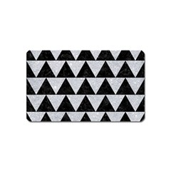 Triangle2 Black Marble & Silver Glitter Magnet (name Card) by trendistuff