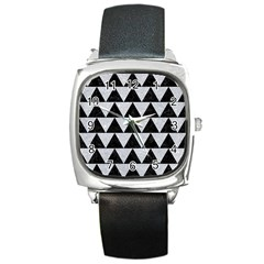 Triangle2 Black Marble & Silver Glitter Square Metal Watch by trendistuff