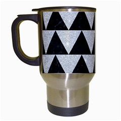 Triangle2 Black Marble & Silver Glitter Travel Mugs (white) by trendistuff