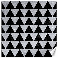 Triangle2 Black Marble & Silver Glitter Canvas 20  X 20   by trendistuff