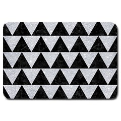 Triangle2 Black Marble & Silver Glitter Large Doormat