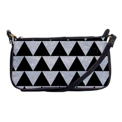 Triangle2 Black Marble & Silver Glitter Shoulder Clutch Bags by trendistuff