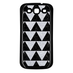 Triangle2 Black Marble & Silver Glitter Samsung Galaxy S3 Back Case (black) by trendistuff