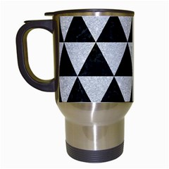 Triangle3 Black Marble & Silver Glitter Travel Mugs (white) by trendistuff