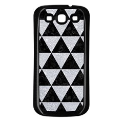 Triangle3 Black Marble & Silver Glitter Samsung Galaxy S3 Back Case (black) by trendistuff