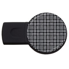 Woven1 Black Marble & Silver Glitter (r) Usb Flash Drive Round (4 Gb) by trendistuff