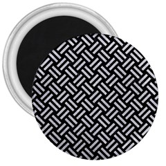 Woven2 Black Marble & Silver Glitter (r) 3  Magnets by trendistuff