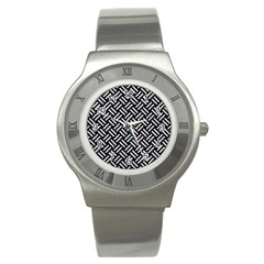 Woven2 Black Marble & Silver Glitter (r) Stainless Steel Watch by trendistuff