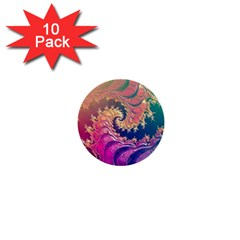Rainbow Octopus Tentacles In A Fractal Spiral 1  Mini Buttons (10 Pack)  by jayaprime
