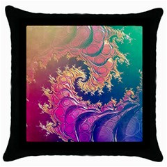 Rainbow Octopus Tentacles In A Fractal Spiral Throw Pillow Case (black) by jayaprime