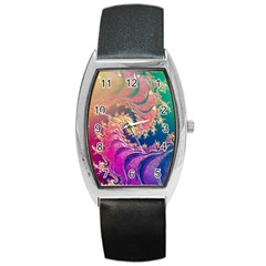 Rainbow Octopus Tentacles In A Fractal Spiral Barrel Style Metal Watch by jayaprime