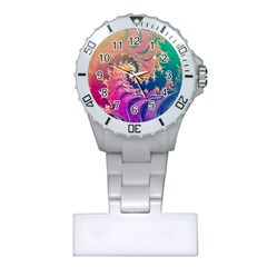 Rainbow Octopus Tentacles In A Fractal Spiral Plastic Nurses Watch by jayaprime