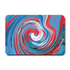 Red And Blue Rounds Small Doormat  by berwies