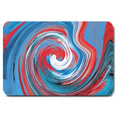 Red And Blue Rounds Large Doormat  by berwies