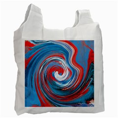 Red And Blue Rounds Recycle Bag (one Side) by berwies