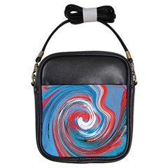 Red And Blue Rounds Girls Sling Bags by berwies