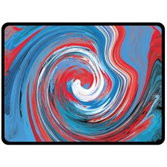 Red And Blue Rounds Double Sided Fleece Blanket (large)  by berwies