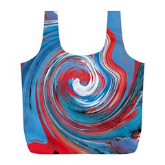 Red And Blue Rounds Full Print Recycle Bags (l)  by berwies