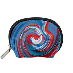 Red And Blue Rounds Accessory Pouches (small)  by berwies