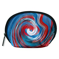 Red And Blue Rounds Accessory Pouches (medium)  by berwies