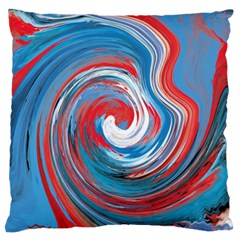 Red And Blue Rounds Large Flano Cushion Case (one Side) by berwies