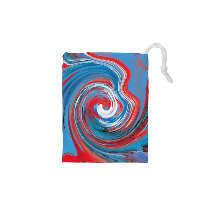 red and blue rounds Drawstring Pouches (XS)