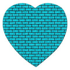 Brick1 Black Marble & Turquoise Colored Pencil Jigsaw Puzzle (heart) by trendistuff