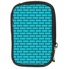 Brick1 Black Marble & Turquoise Colored Pencil Compact Camera Cases by trendistuff