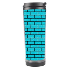Brick1 Black Marble & Turquoise Colored Pencil Travel Tumbler by trendistuff