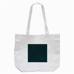 Brick1 Black Marble & Turquoise Colored Pencil (r) Tote Bag (white) by trendistuff