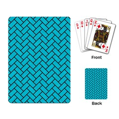 Brick2 Black Marble & Turquoise Colored Pencil Playing Card by trendistuff
