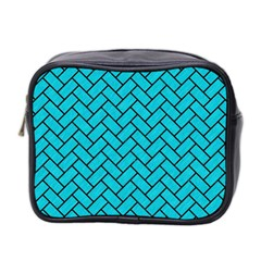 Brick2 Black Marble & Turquoise Colored Pencil Mini Toiletries Bag 2 Side by trendistuff