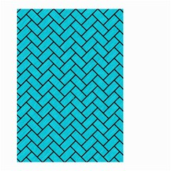Brick2 Black Marble & Turquoise Colored Pencil Small Garden Flag (two Sides) by trendistuff